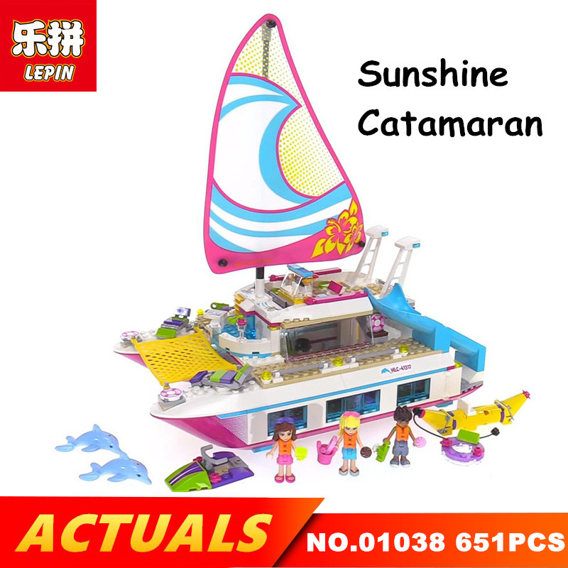Lepin 01038 651PCS Building Blocks Sunshine Catamaran Jump aboard the luxury blocks Legoing 4131 Toys for children gril gift