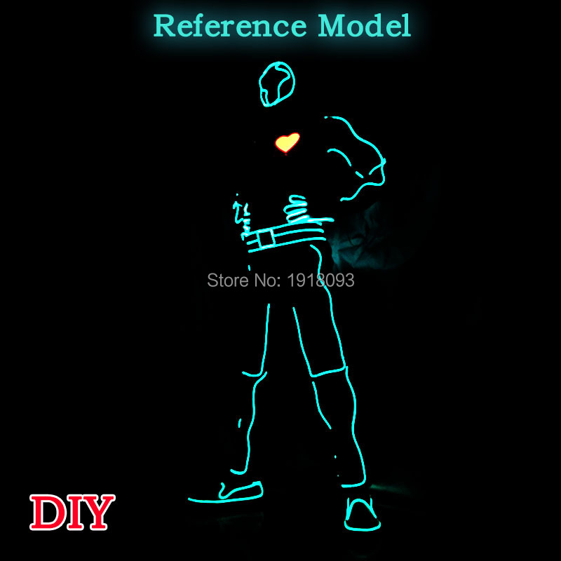 DIY EL wire Costume Party decoration light up Flashing EL Suit for Holiday Lighting Supplies