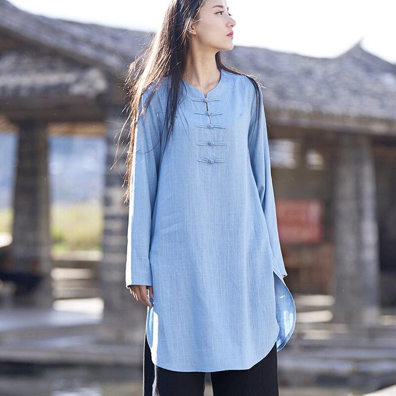 Estilo chino de Lino de Algodón de manga Larga de Las Mujeres Blusa Larga Camisa