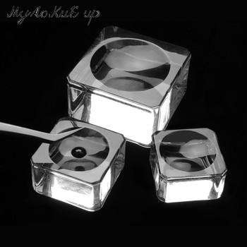Square Crystal Glass Gasket False Eyelash Stand Glue Pad 4 size Glue Holder Eyelashes Adhesive Pallet Paste Glue Pad Makeup Tool 1