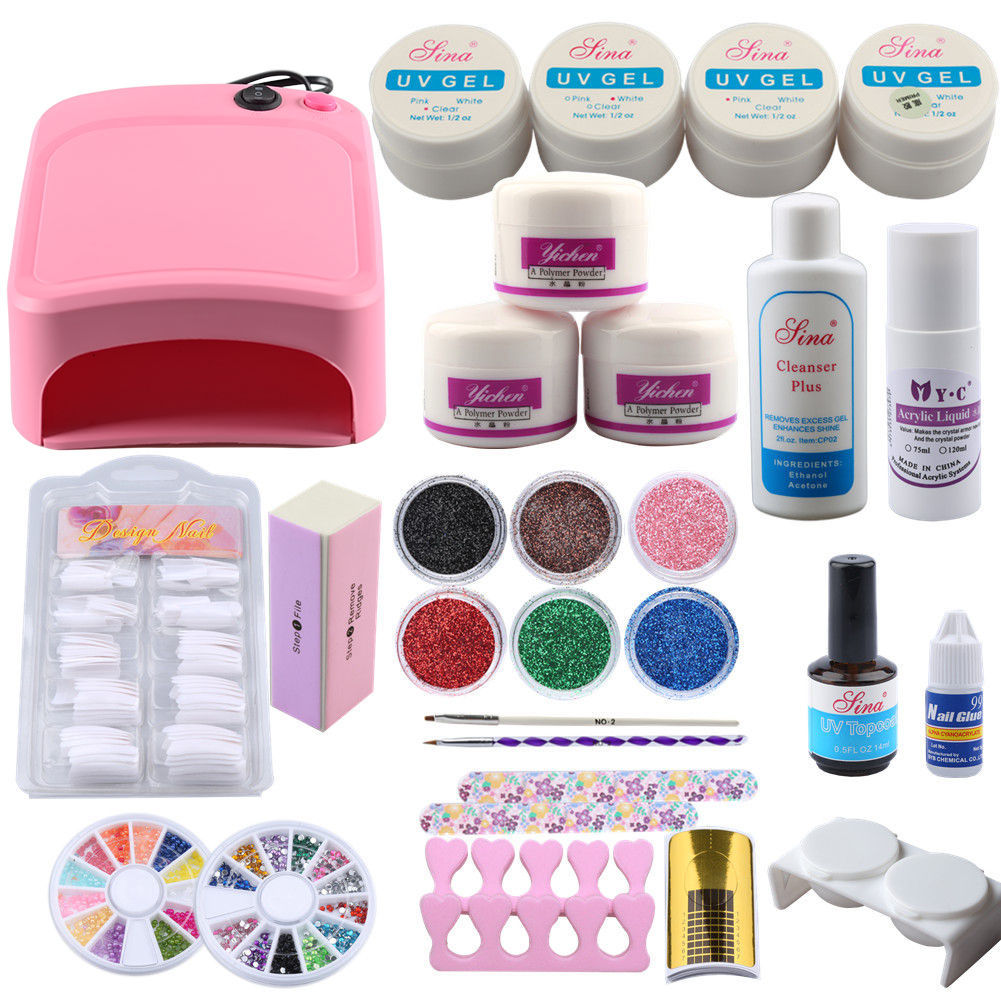 Acrylic Power UV Gel Nail Kit 36W Lamp Manicure For Nail Acrylic Tips Glitter Rhinestones File Brush Manicure Nail Art Tool SetAcrylic Power UV Gel Nail Kit 36W Lamp Manicure For Nail Acrylic Tips Glitter Rhinestones File Brush Manicure Nail Art Tool Set