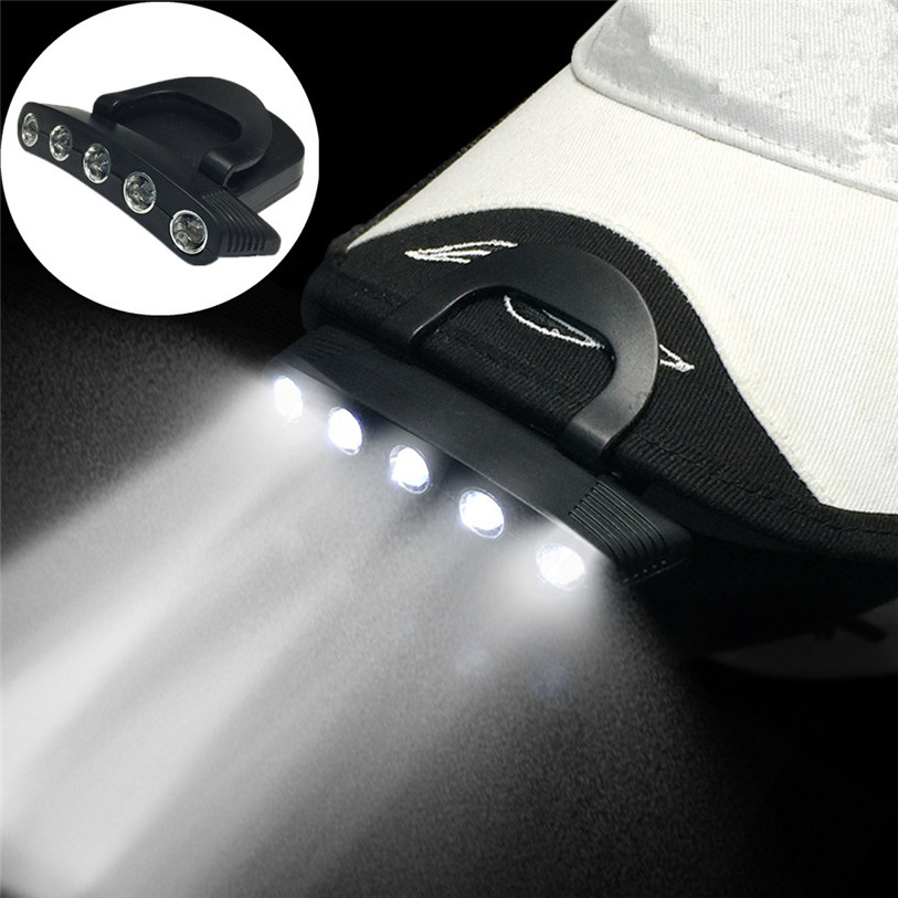 5 LED Cap Clip On Lamp Outdoor Hiking Fishing Hunting Safety Headgear Light Outdoor Bicy ...