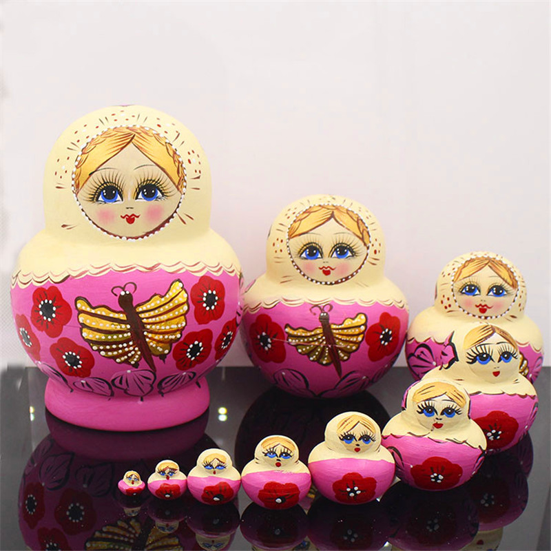 10 couches papillon doré en bois russe nidification poupée peinte à la main sec Basswood Matryoshka poupée jouets