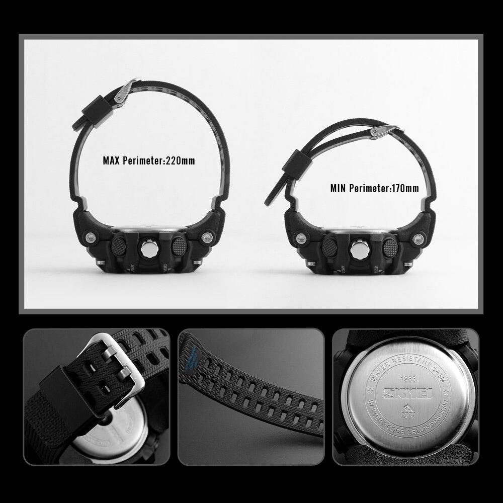 Image 5 - Skmei novo s choque masculino esportes relógios grande dial  relógio digital de quartzo para homens marca luxo led militar à prova  dwaterproof águawatch bigwatch forwatches for men