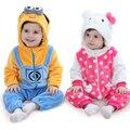 2017 Menina Roupas One-Pieces para Recém-nascidos Do Bebê Recém-nascido Dos Desenhos Animados Flanela Animal Macacão Macacão Da Menina Quente Do Bebê Roupas Menino traje