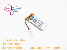3.7V 380mAh 402040 Lithium Polymer Li-Po li ion Rechargeable Battery cells For Mp3 MP4 MP5 GPS mobile bluetooth