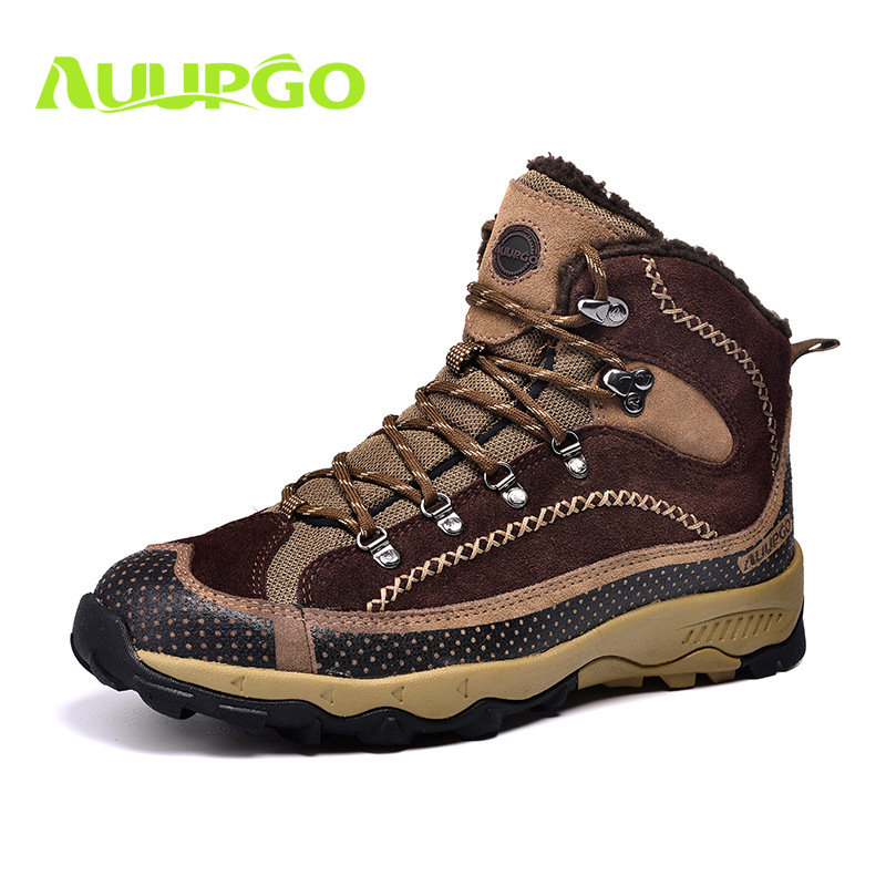ФОТО Boots And Shoes For Male Cashmere High Waterproof Outdoor Shoes Warm Shoes Men Hiking Shoes