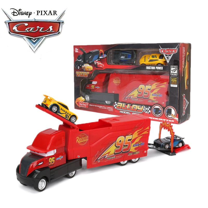 Set Of 3 Disney Pixar Cars 3 Toys Alloy Model Car Lightning McQueen Black Storm Dinoco Pull Back Diecast Cars Collectible Model