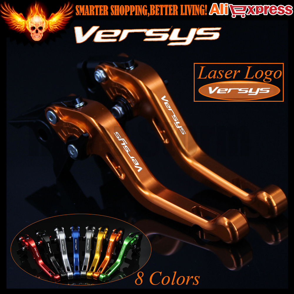 ФОТО Laser Logo (Versys) 8 Colors Yellow CNC Aluminum Motorcycle Short Brake Clutch Levers for Kawasaki VERSYS 1000 2015 2016
