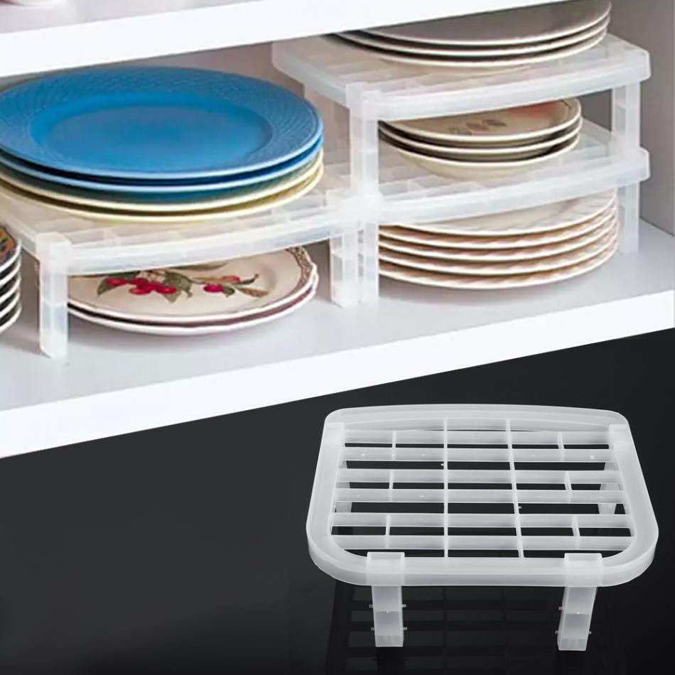 Dish Tray Rack Kitchen Organizer Shelves Plastic Bowl Plate Drying Storage Rack Organizers For Kitchen Cabinet Storage Shelf