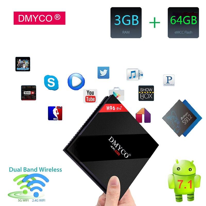 Original H96 Pro + TV Box Amlogic S912 3GB 64GB Octa Core Android 7.1 OS BT4.1 2.4GHz+5.0GHz WiFi Media Player Smart Set Top Box недорго, оригинальная цена