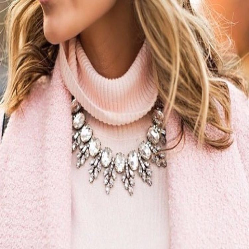 2016 Luxury Brand Crew Crystal Necklace Pendant Leaves Vintage Choker Collar Jewelry Chunky Choker Statement Necklace
