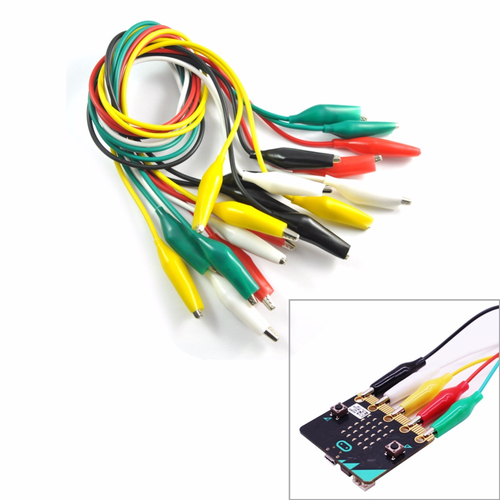 10pcs/lot For Micro:bit  Microbit Alligator Clips With Wire, Electrical Test Leads Test Jumper Wire Alligator Crocodile Clips