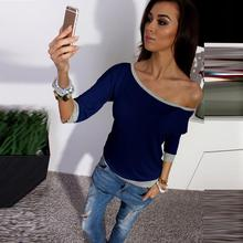 Autumn Fashion Women Shirt Off Shoulder Top 34 Sleeve Casual Pullover Casual Loose T-Shirt#