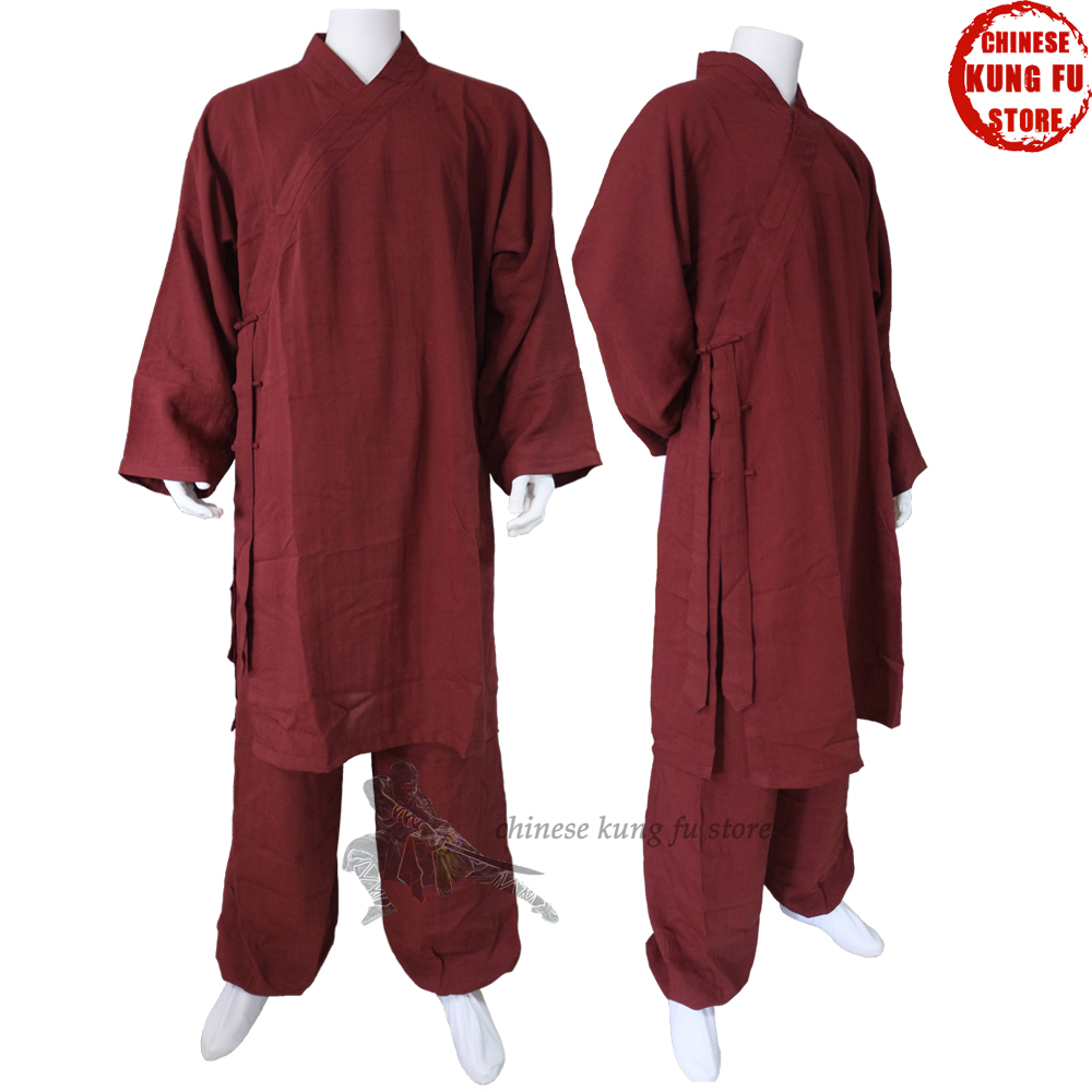 Custom Make 25 Colors Linen Shaolin Uniform Buddhist Monk Kung fu Martial arts Suit Tai chi