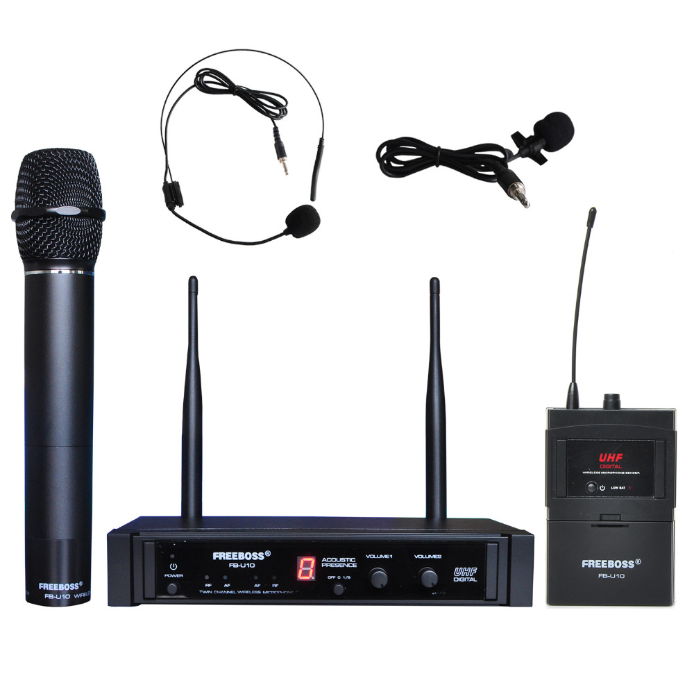 Freeboss FB-U10H Dual Way Transmitter Digital UHF Wireless Microphone with handheld + Lapel + Headset microphone for Karaoke mic boya by whm8 professional 48 uhf microphone dual channels wireless handheld mic system lcd display for karaoke party liveshow