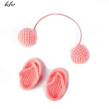 NewBorn Photography Props Hand Crochet Baby Slippers +Headset Set Photo Shoes Accessories