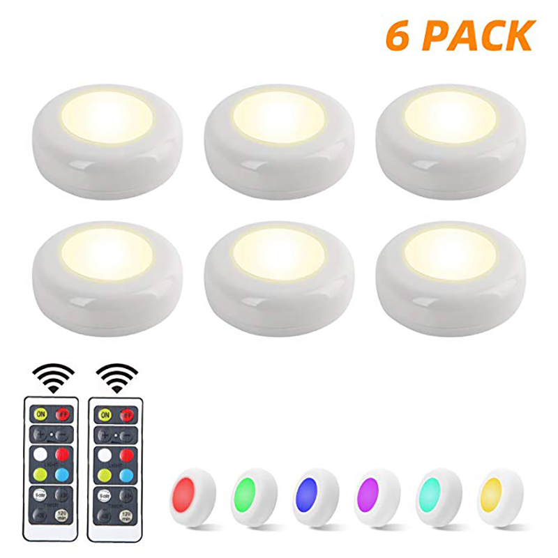 6 Pack RGB LED Closet Lights Wireless LED Puck Lights 16 Colors 3 Modes With Remote Control Timer Function Battery Powered