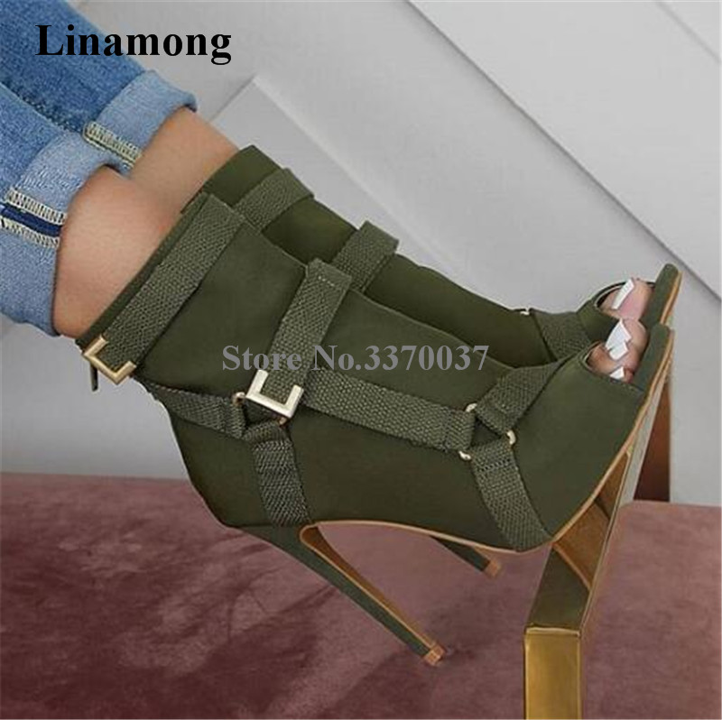 New Design Women Fashion Peep Toe Suede Leather Stiletto Heel Short Boots Buckles Strap Black Army