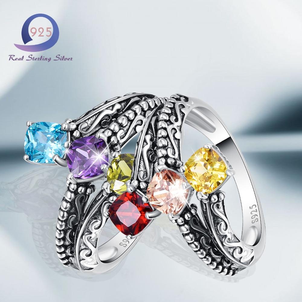 Merthus 925 mincovní stříbro prsteny styl 2.85cttw 3 kámen více drahokamu vytvořené prsten pro ženy zásnubní párty výročí