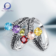 Merthus 925 Sterling Silver rings Style 2.85cttw 3 Stone Multi Lab-Created Gemstone Ring for Women Engagement Party Anniversary