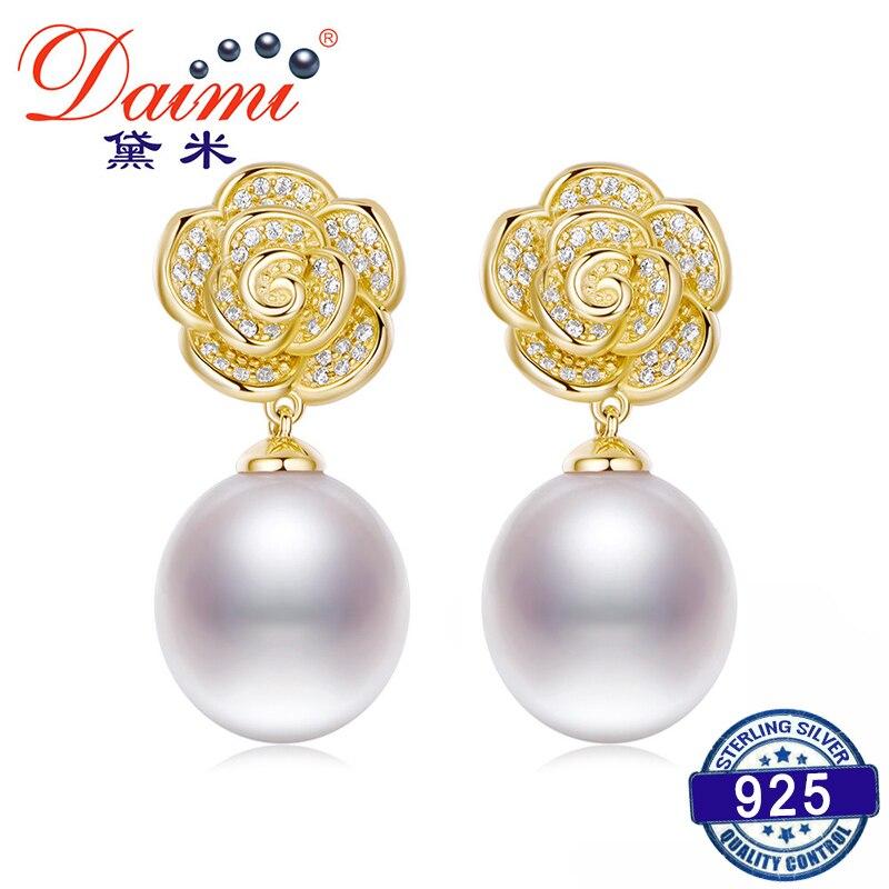 DAIMI 925 Silver Flower Earrings 10-11mm Water Drop Earring Freshwater Pearl Earrings water drop faux pearl drop earrings