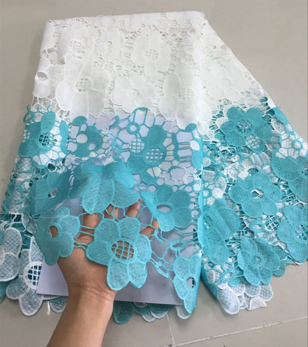 Beautifical Flower African Guipure Lace Fabric White And Blue High Quality African Water Soluble Cord Lace Fabric JYG15801 in Lace from Home Garden