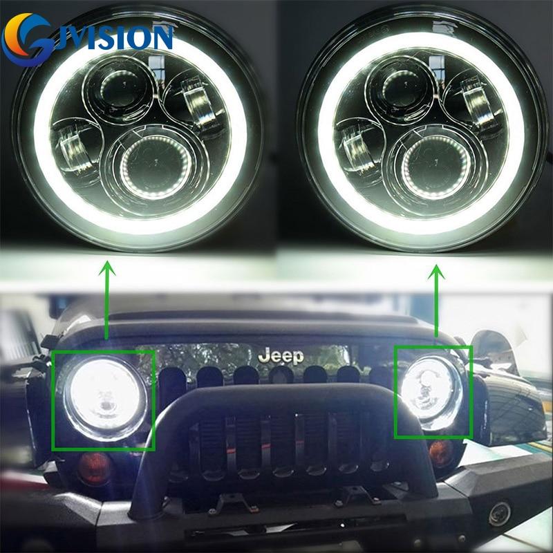 2 pcs 7inch led headlight with 5d lens drl white for for hummer h1&h2 patrol y60 jeep wrangler jk tj cj Wrnagler LED Headlight led Angel eye DRL Daytime Running lights for Jeep JK LJ CJ Hummer H1 H2 7'' Projector Driving lamp