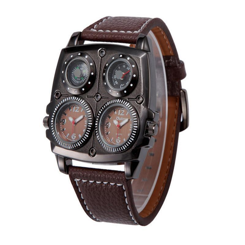 Men's Watches Cool Sports Casual Quartz Wristwatch Leather Strap Oversize Military Compass Dial 2 Time Zone DZ Watch Men цена 2016
