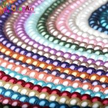 OlingArt 4 мм/6 мм/8 мм 50 шт круглая разноцветная стеклянная имитация жемчуга DIY серьги браслет ожерелье Изготовление ювелирных изделий