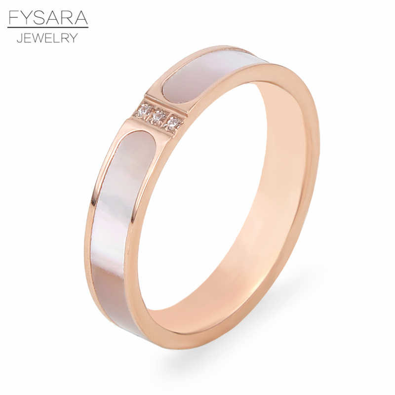 FYSARA Natural Shell & AAA Crystals Love Rings For Women Couple Bridal Finger Rings Love Luxury Jewelry Girl Friend Gift