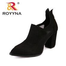 Royyna جديد الكلاسيكية نمط المرأة مضخات فلوك المرأة الصيف أحذية عالية الكعب فام الراحة أحذية أشار تو سيدة أحذية الزفاف