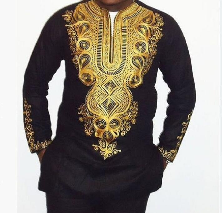 Fashion African Clothing Man Printed Long-sleeve Black Suit Top+Pants