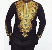 Fashion African Man Printed Long sleeve Black Suit Top+Pants
