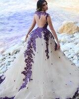 robe de soiree longue Dubai Evening Dresses vestido de festa longo Formal Gowns Evening Dress Appliques Purple abendkleider