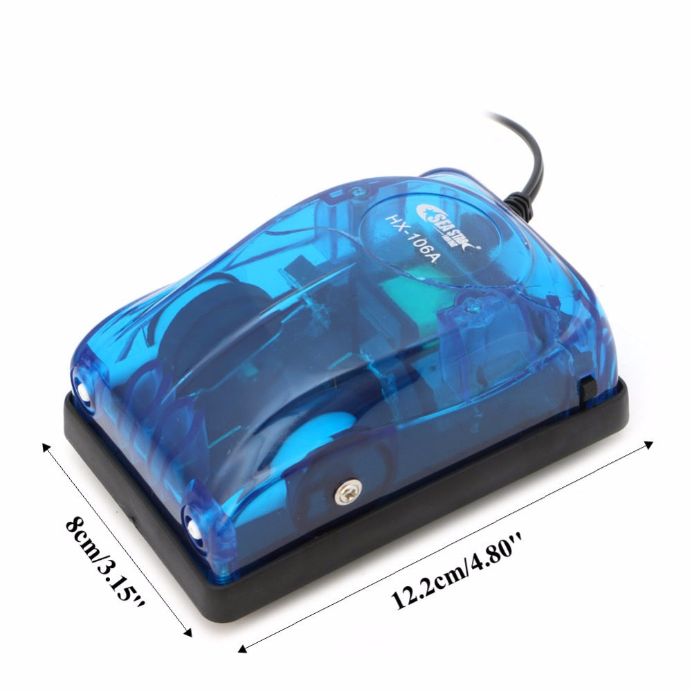 Aquarium Oxygen Air Pump Fish Tank Super Silent Efficient Energy Twin Outlet EU
