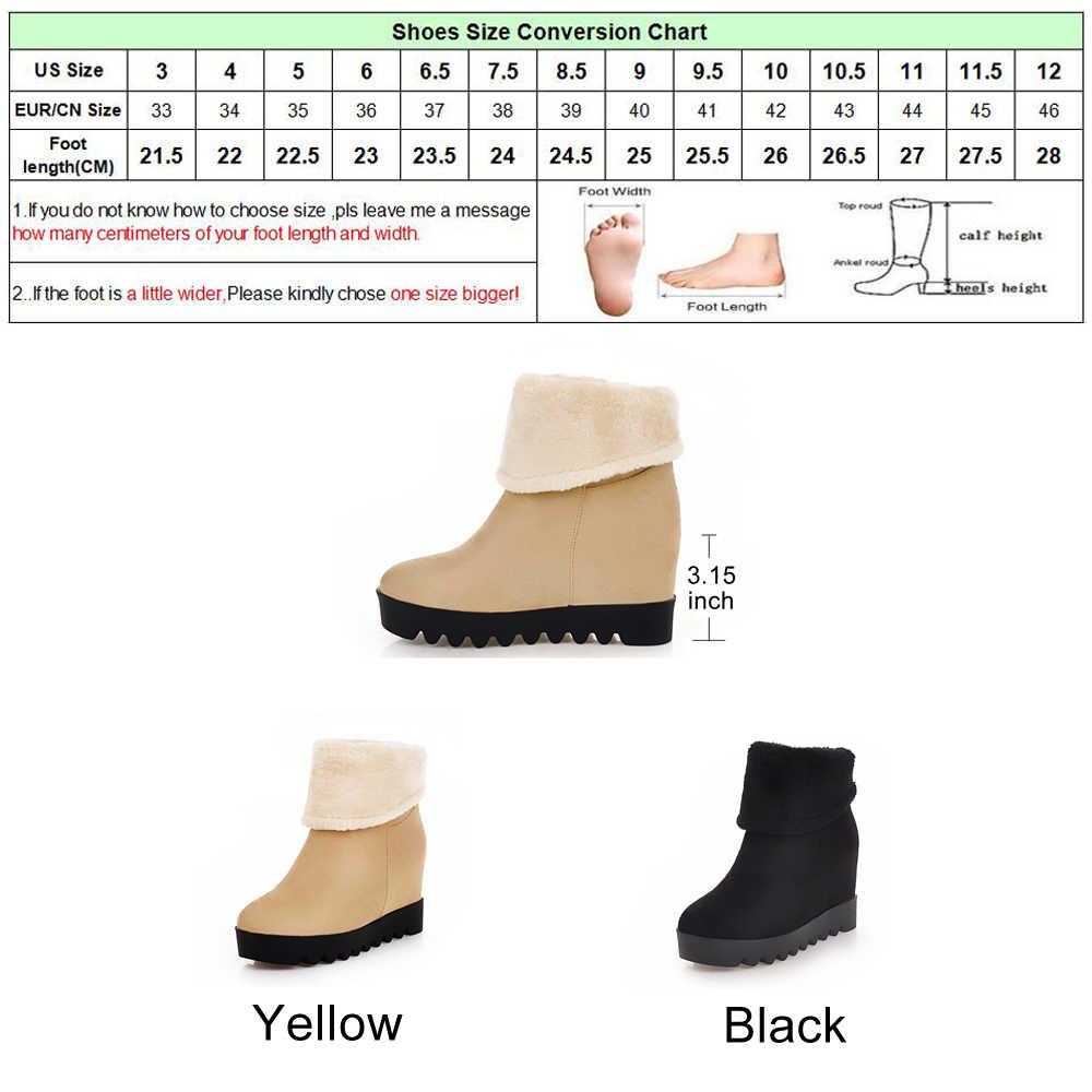 Meotina Platformu Kama Çizmeler Kadın Kış Orta Buzağı Çizmeler Peluş Sıcak Kar Botları Kış Bayan Ayakkabıları Siyah Sarı Boyutu 34 -43