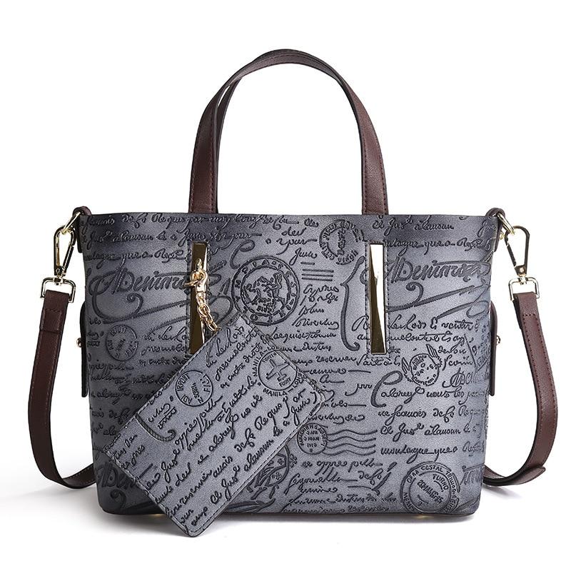 New Fashion Retro Gray Women Handbag Pu Leather Flowers Pattern Single Shoulder Handbag Shoulder Diagonal Cross Female Handbag цены