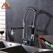 Яркий хром весной раковина кран два воду носик RGB света изменение кухня с 10 дюймов плиты водопроводной воды