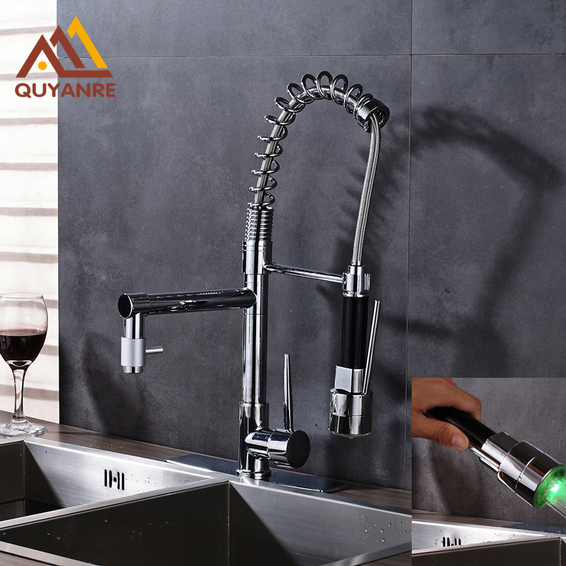 Bright Chrome Spring Sink Faucet Two Water Out Spout RGB Light Changing Kitchen with 10 Inch Plate Water Tap