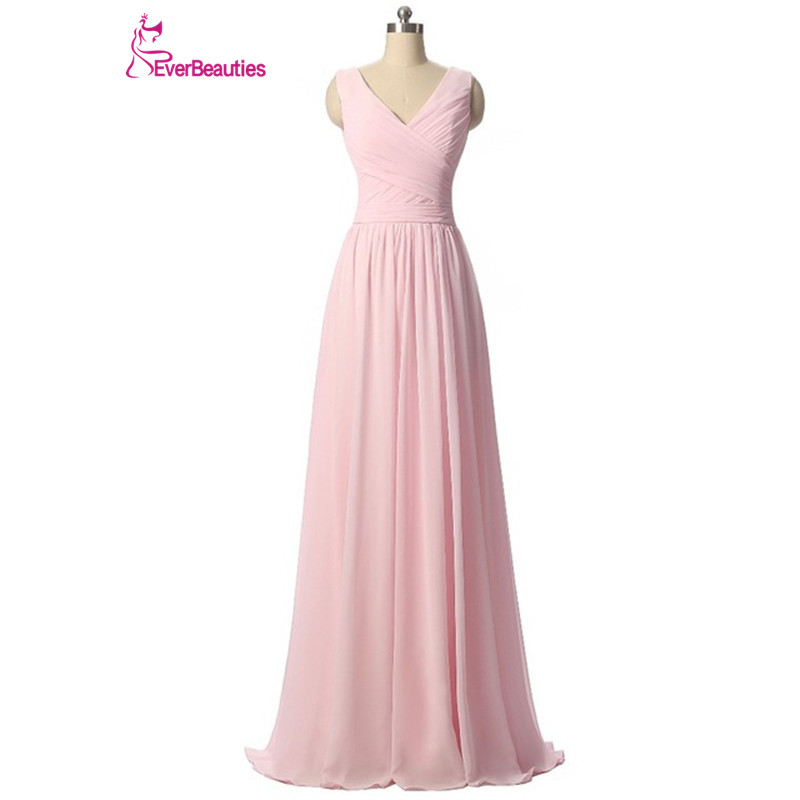 Ever Beauty Mint Green Long Chiffon A Line Pleated Bridesmaid Dress Under 50 Wedding Party Dress 2018 Robe Demoiselle D'honneur