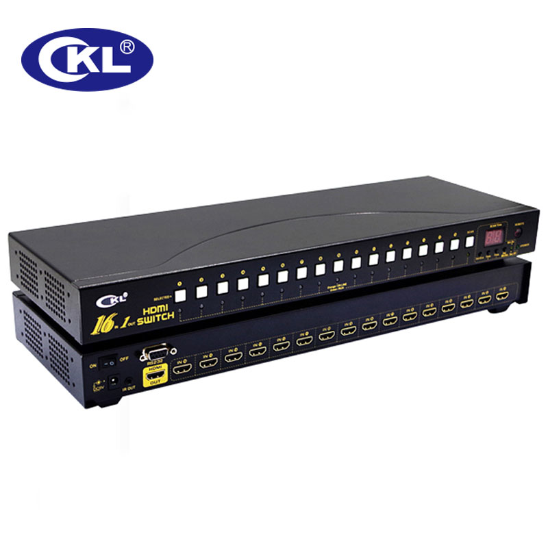 CKL 16 Port Auto HDMI Switch Selector With IR Remote RS232 Control Support 3D 1080P EDID Auto Detection Rackmount CKL-161H