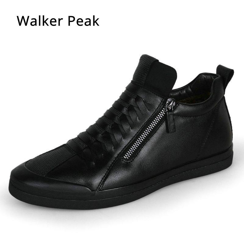 Zapatos para Hombre Zapatos casuales de moda de diseñador de zapatos de cuero genuino para los hombres Slip on mocasines zapatillas negro Otoño Invierno zapatos de los hombres marca