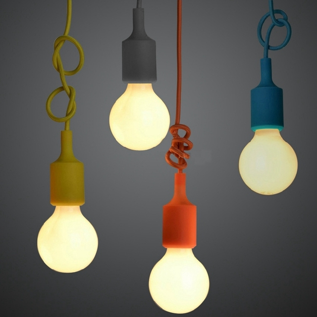 Aliexpress buy e27 colorful silicone lamp holder high quality e27 colorful silicone lamp holder high quality pendant light 10 colors diy pendant lights 100cm aloadofball Image collections