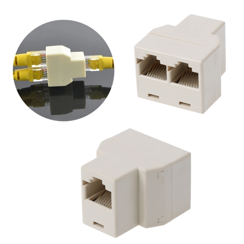 RJ45 CAT5 CAT5E Network Ethernet 1to2 Connector Adapter 翻轉 貓 砂 盆