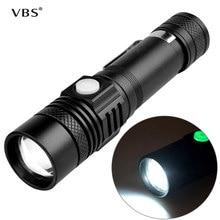 USB chargeant linterna lampe de poche led torche el feneri ultra lumineux lampe de poche avec batterie pour camping escalade chasse pêche A1