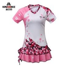 KING BIKE 2016 Womens Cycling Jersey Dress Summer Short Sleeve Skirt Bike Bicycle Clothing Sportwear Pink Color S-XXXL Jerseys