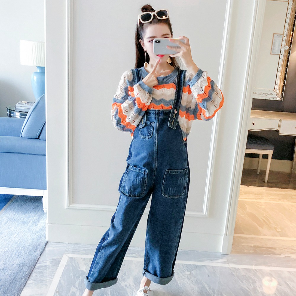 Pregnant women autumn suit fashion models 2018 new color matching striped sweater denim overalls two sets of pregnancy adyce 2018 new fashion spring women sets striped top