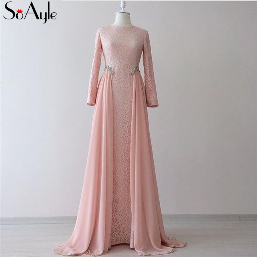 Discount Dresses: SoAyle Long Sleeves Pink Prom Dresses A Line Chiffon