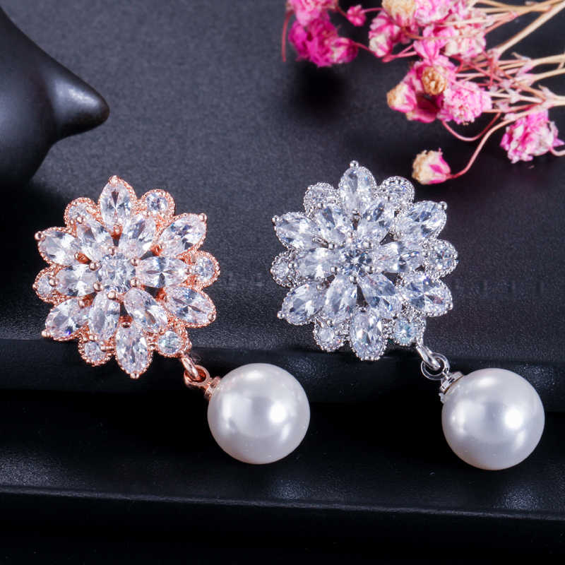 CWWZircons 2018 New Arrival Gorgeous Cubic Zirconia Flower Earring Necklace Women Fashion Pearl Jewelry Set Rose Gold Color T279